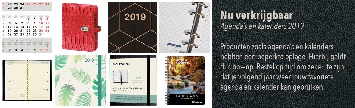 Nu verkrijgbaar: agenda's en kalendser 2019. Producten zoals agenda's en kalenders hebben een beperkte oplage. Hierbij geldt dus op=op. Bestel op tijd om zeker te zijn dat je voglende jaar weer jouw favoriete agenda en kalender kan gebruiken.