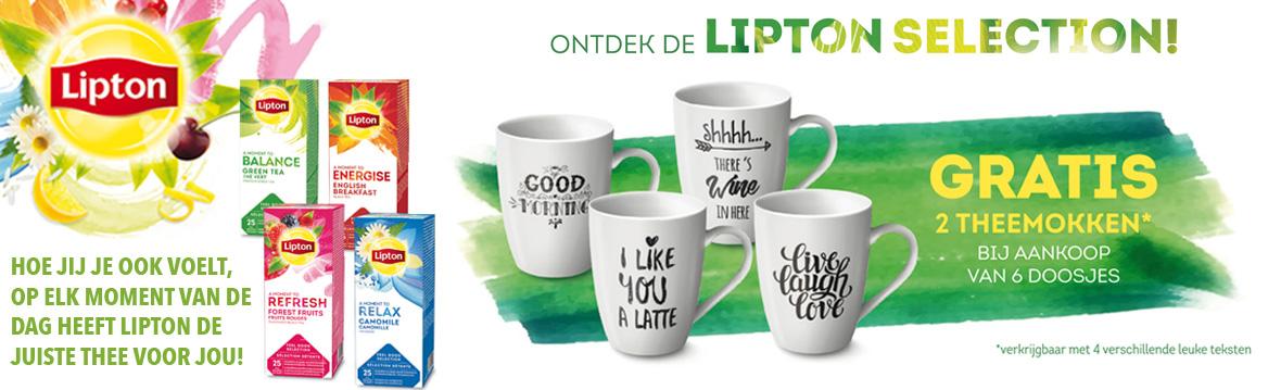 Voorpag - Big Slider - Gratis mokken bij zes doosjes Lipton Thee