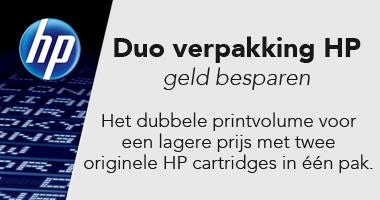 Een banner van HP duo verpakking toners. Het dubbele printvolume voor een algere prijs met twee originele HP cartridges in één pak, originele supplies voor een optimaal resultaat met een HP printer, meer afdrukken, meer waar voor uw geld.