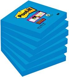 Memoblok 3M Post-it 654-SSEB Super Sticky 76x76mm blauw