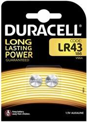 Batterij Duracell knoopcel LR43 alkaline Ø11,6mm 2 stuks