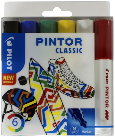 Viltstift Pilot Pintor classic 1.4mm ass etui à 6 stuks assorti