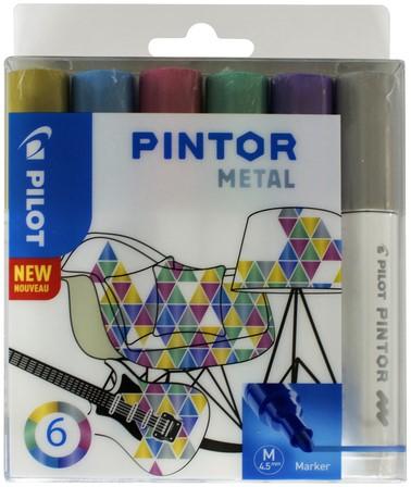 Viltstift Pilot Pintor metalic 1.4mm ass etui à 6 stuks assorti