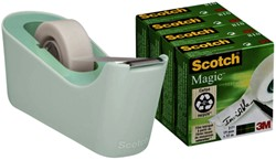 Plakbandhouder Scotch C18 mint + 4rol magic tape 19mmx33m