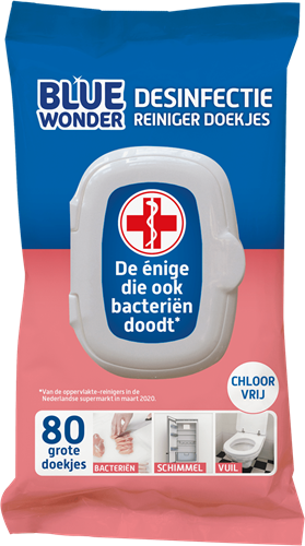 Desinfectiedoekjes Blue Wonder XL, pak a 80 stuks
