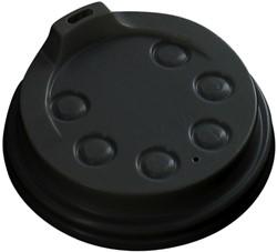 Bekerdeksel Ø80mm met drinkgat zwart 50 stuks