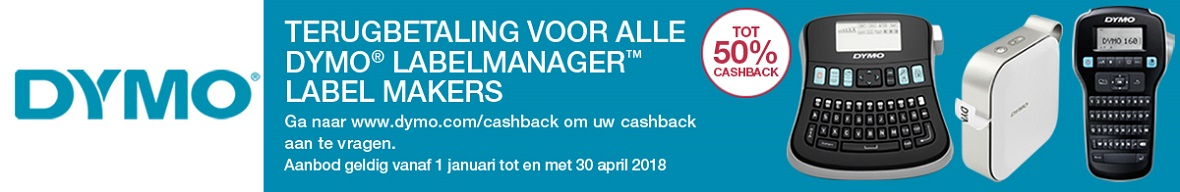 50% cashback op het DYMO® LabelManager™-assortiment 