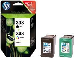Inkcartridge HP SD449EE 338 + 343 zwart + kleur