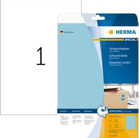 Etiket Herma 4423 210x297mm A4 verwijderbaar blauw 20stuks