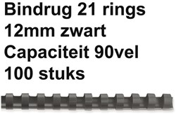 Bindrug Fellowes 12mm 21rings A4 zwart 100stuks