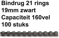 Bindrug Fellowes 19mm 21rings A4 zwart 100stuks