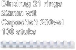Bindrug GBC 22mm 21rings A4 wit 100stuks