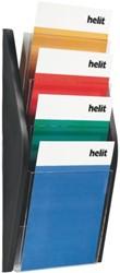 Folderhouder Helit wand 4xA4 zwart