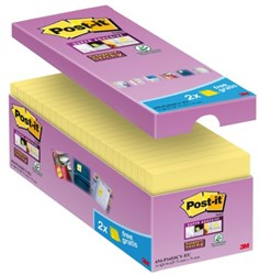 Memoblok 3M Post-it 654-P16 Super Sticky 76x76mm geel 14+2 gratis