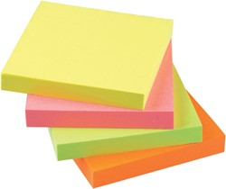 Memoblaadjes Quantore 75x75mm neon kleuren assorti 4 kleuren