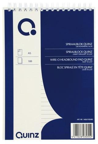 Schrijfblok Quinz A5 lijn kopspiraal 70 grs 100 vel 1 STUK
