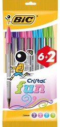 Balpen Bic Cristal assorti medium Fun pouch à 6+2 gratis