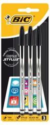 Balpen Bic Cristal Stylus zwart medium blister à 3st