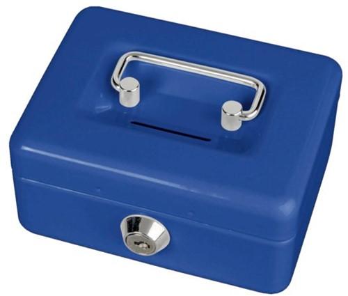 Geldkist Maul met gleuf 125x95x60mm blauw