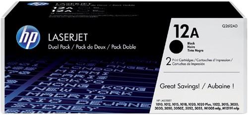 Tonercartridge HP Q2612AD 12A zwart 2x