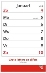 Kalender 2018 met grote letters en cijfers Quantore