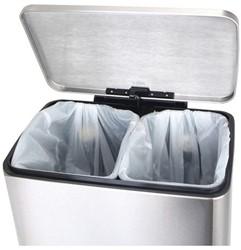 Afvalbak pedaalemmer RVS mat rechthoekig 9+10liter