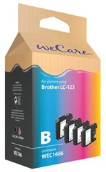 Inkcartridge Wecare Brother LC-123 zwart + 3 kleuren