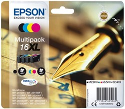 Inkcartridge Epson  16XL T1636 zwart + 3 kleuren HC