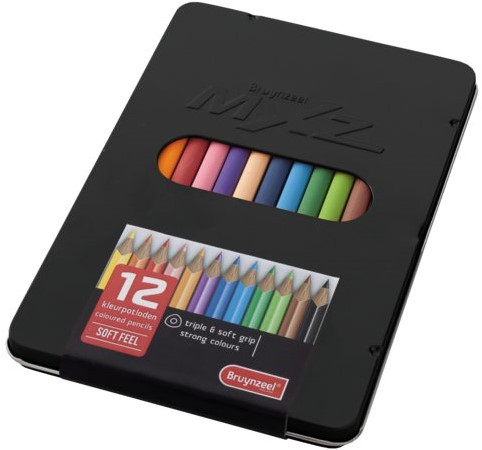 Kleurpotlood Bruynzeel MXZ 6518 soft feel zwart blik à 12 st