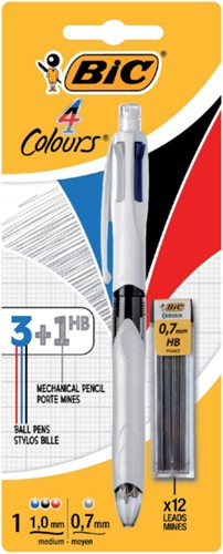 Balpen Bic 3kleuren met vulpotlood HB 0.7mm in blister-3