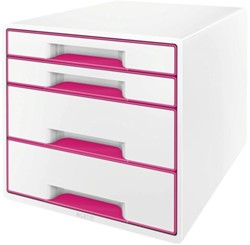Ladenblok Leitz WOW 4 laden wit/roze