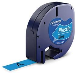 Labeltape Dymo Letratag 91205 plasticl12mm zwart op blauw