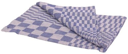 Theedoek katoen blauw/wit 70x70cm 6 stuks
