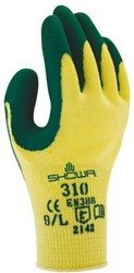 Handschoen Showa 310 grip latex groen/geel smal
