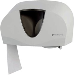 Dispenser PrimeSource Classic Duo toiletpapier wit/tranp.