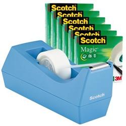 Plakbandhouder Scotch C38 + 6rol magic tape 19mmx33m blauw