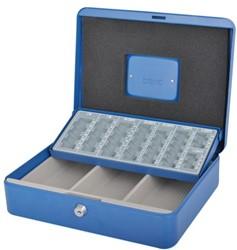 Geldkist Pavo met muntsorteerbak 300x240x90mm blauw