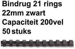 Bindrug Fellowes 22mm 21rings A4 zwart 50stuks