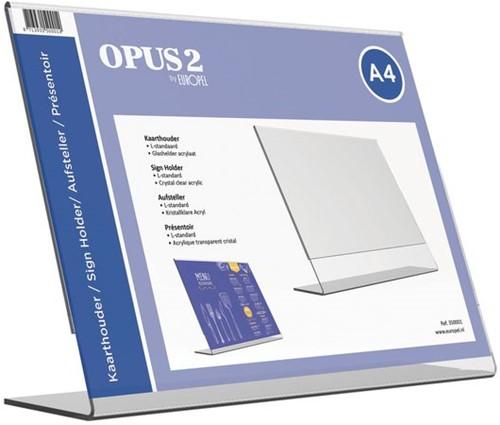 Kaarthouder OPUS 2 L-standaard A4 liggend acryl