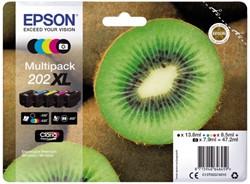 Inkcartridge Epson 202 T02G74 zwart + 3 kleuren + foto zwart