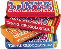 Chocolade Tony's Chocolonely reep 180gr in blik puur-melk en karamel zeezout-1