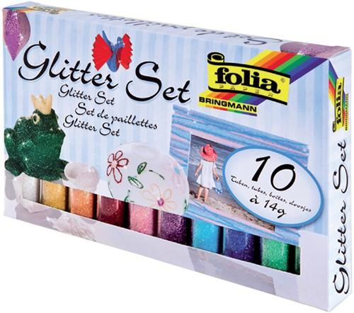 Glitterpoeder Folia blister à 10x 14gr tube ass