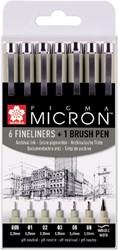 Fineliner Sakura Pigma Micron ass + brushpen zwart
