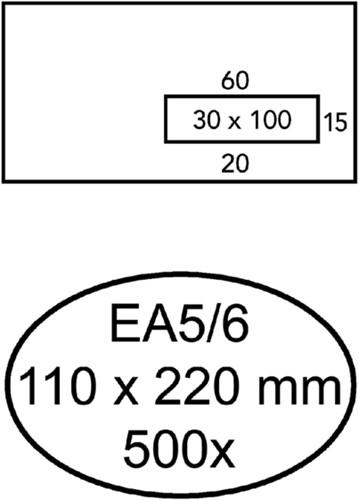 ENVELOP HERMES VENSTER EA5/6 VR 3X10 80GR 500ST WT 500 STUK