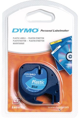 Labeltape Dymo Letratag 91205 plasticl12mm zwart op blauw-2