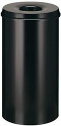 Papierbak met vlamdover Vepabins 50liter 33.5cm zwart