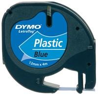Labeltape Dymo Letratag 91205 plasticl12mm zwart op blauw-1
