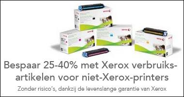 Een banner van Xerox. Bespaar 25-40% met Xerox verbruiksartikelen voor niet-xerox-printers, zonder risico's, dankzij de levenslange garantie van Xerox, Xerox, toners, inkt en accessoires