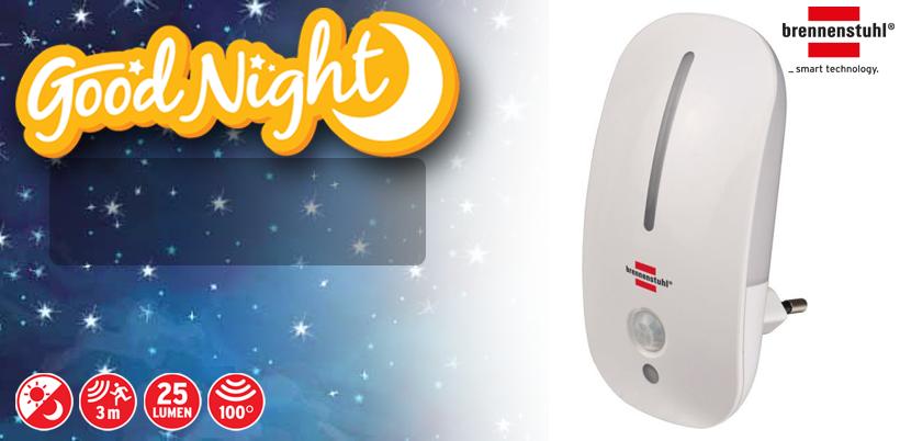 LED-Nachtlampje met bewegingsdetector en schemeringssensor 9 LED 25lm  LED-nachtlicht met in totaal 9 LED's. Twee functies: 1 LED bij schemering plus 8 LED's bij beweging. Infrarood-bewegingssensor met horizontale detectiehoek van 100° en reikwijdte van max. 3 m. Warm, aangenaam licht. Schakelfunctie aan/uit. In blisterverpakking.