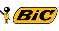 Het logo van BIC. Waarschijnlijk het meest bekende merk van schrijfwaren, de BIC pen is revolutionair. De balpen hardlopers: BIC Cristal, BIC M10 zijn niet weg te denken uit de kantooromgeving.